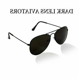 dark pilot aviator sunglasses black lens police