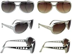Elvis Glasses Vintage Style Gold Silver Aviator Sunglasses R