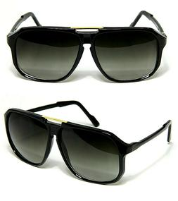 Evidence Aviator Sunglasses Black Vintage Flat Top Hip Hop B