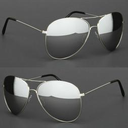 Extra Large Aviator Sunglasses Silver Frame Dark Mirror Lens