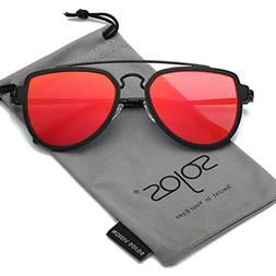 SOJOS Fashion Aviator Unisex Sunglasses Flat Mirrored Lens D