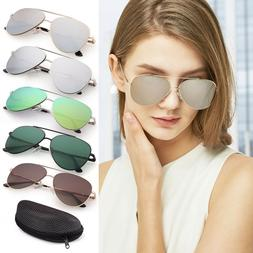 Fashion Flat Aviator Sunglasses For Women Men Mirrored Lens