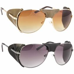Faux Leather Side Shield Aviator Sunglasses Classic Motorcyc