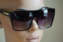 Flat Top Square Retro Vintage Big Oversized Aviator Sunglass