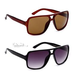Flat Top Aviator Style Square Lens Sunglasses Sporty Unisex
