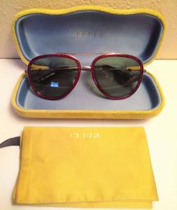 cc3a76bbd0f20 Gucci GG 0062S 005 Red Metal Aviator Sunglasses Blue Gradien