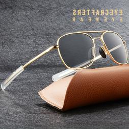Gold Metal Aviator Sunglasses Premium Military Pilot Mens Po