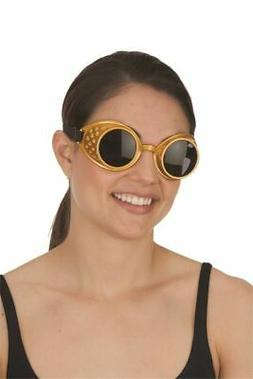 Gold Steampunk Goggles Sunglasses Eyewear Adult Aviator Pilo