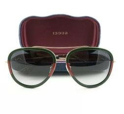 Gucci GG 0062S 003 Red Striped Green Gold Aviator Metal Sung