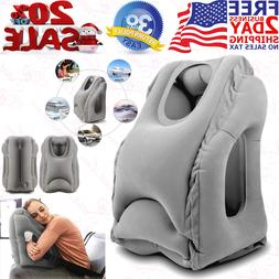 Inflatable Air Travel Pillow Airplane Neck Head Chin Cushion