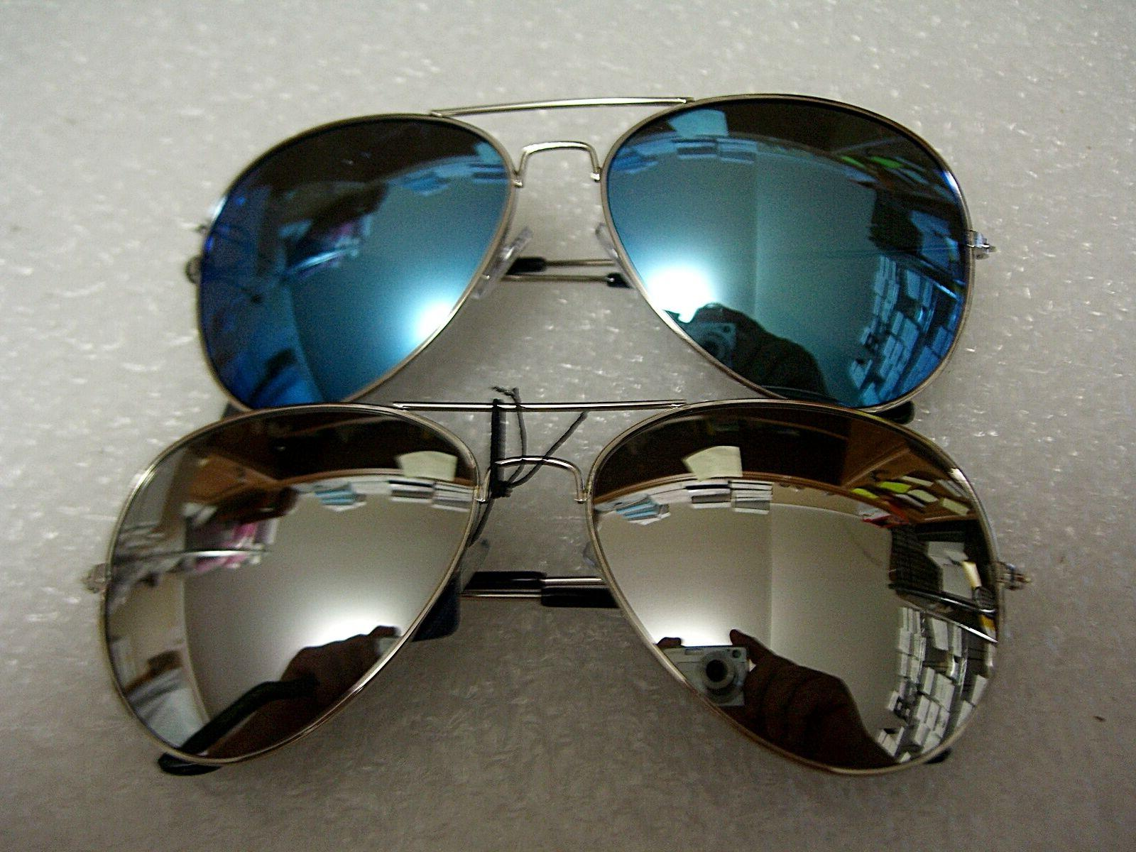 2 PAIR AVIATOR SUNGLASSES  BLUE MIRROR & SILVER MIRROR LENS