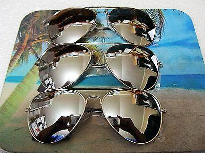 3 PAIR  LARGE AVIATOR SUNGLASSES SILVER MIRROR LENS TOP COP