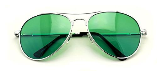 VW Eyewear - Colorful Silver Metal Aviator With Color Lens S