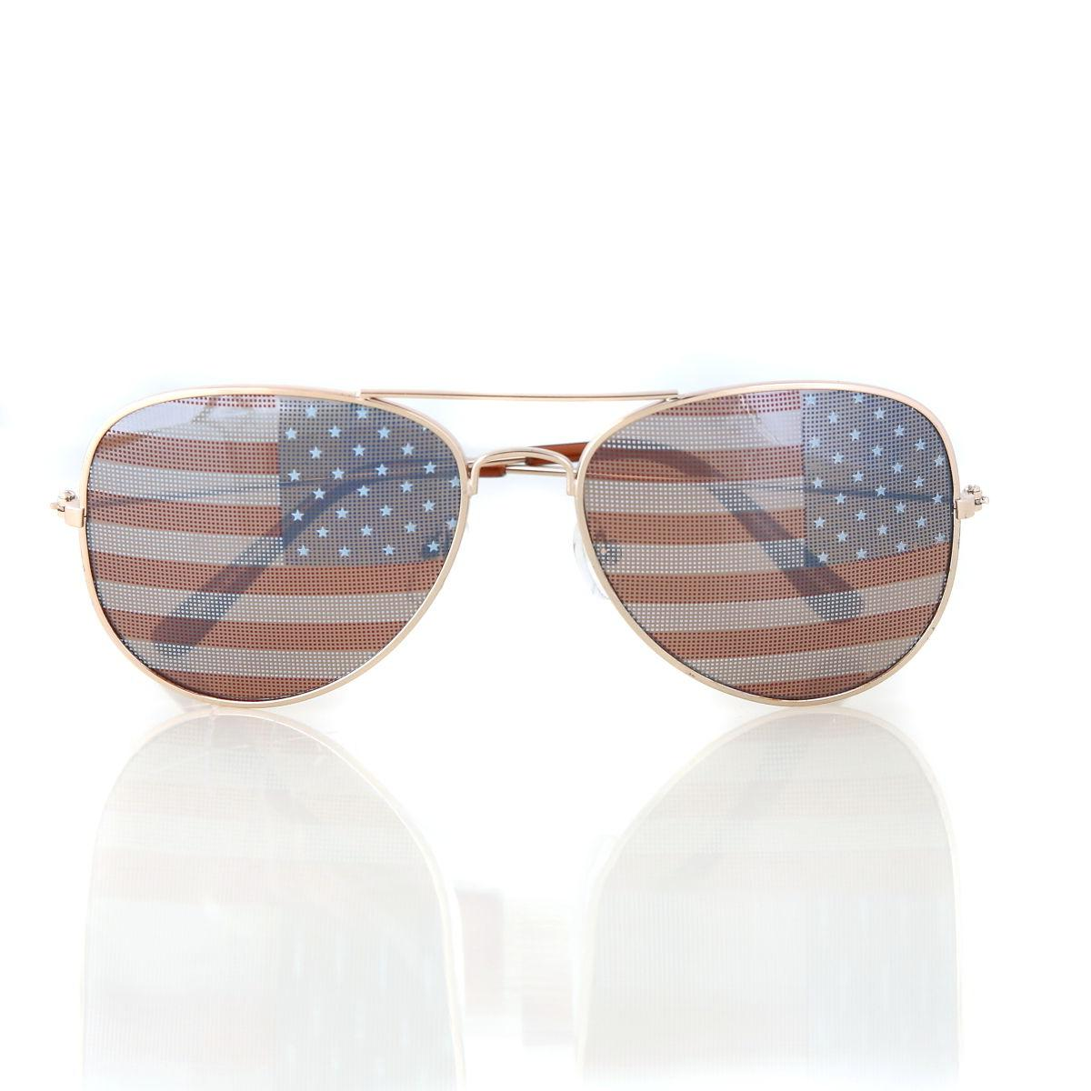 American USA Flag Aviator Sunglasses Patriotic United States