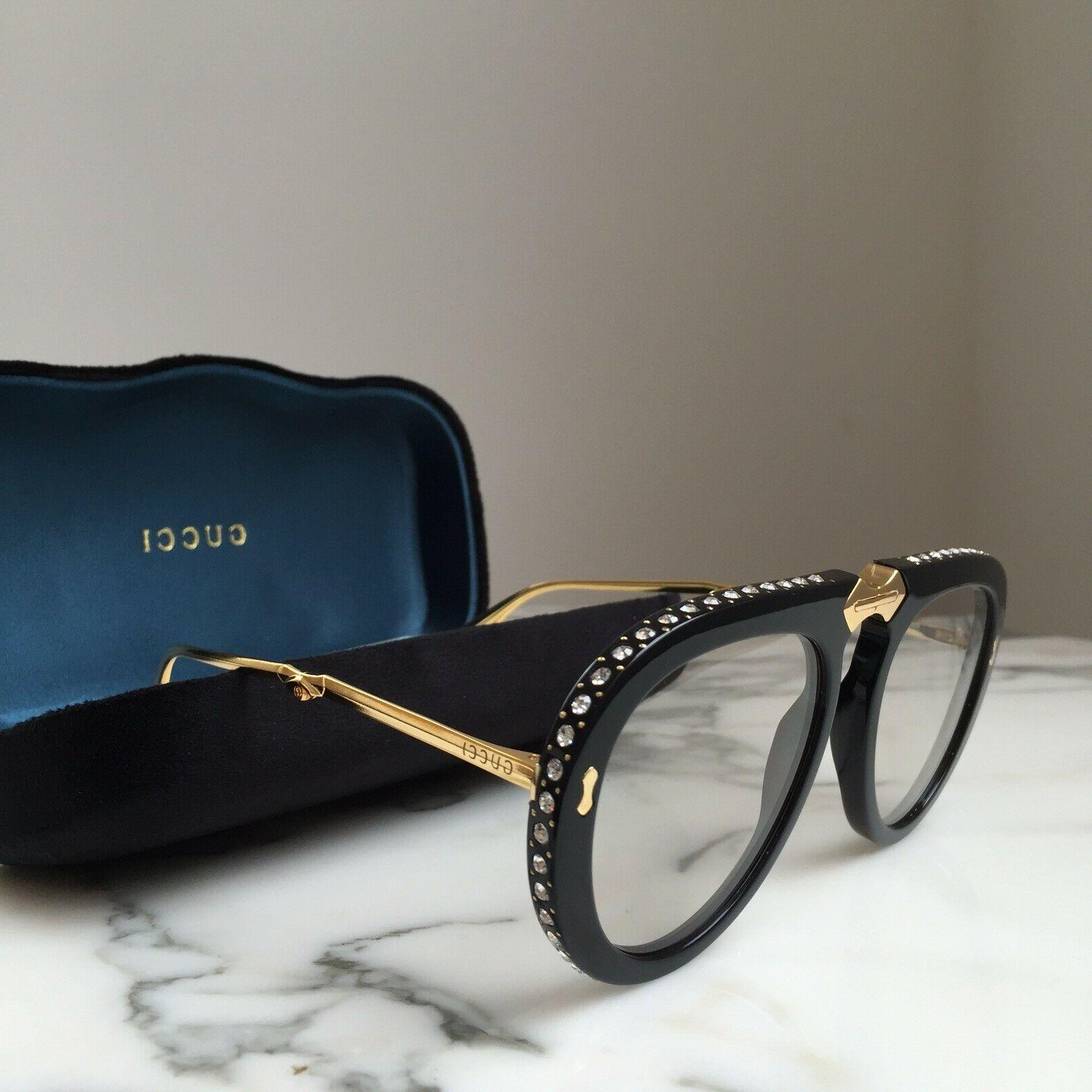 Auth GUCCI Sunglasses GG0307S 002 Gold Black Crystal Foldabl