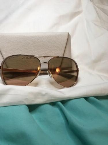 Authentic Michael Kors Aviator Chelsea Sunglasses, pink lens