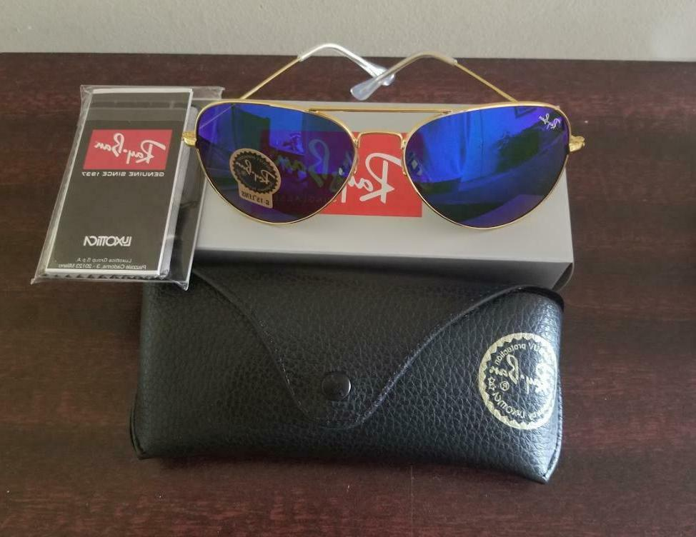 authentic ray ban aviator rb3025 blue mirror