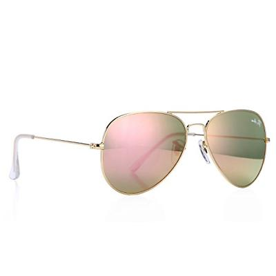 Pro Acme Aviator Crystal Lens Large Metal Sunglasses Gold Fr