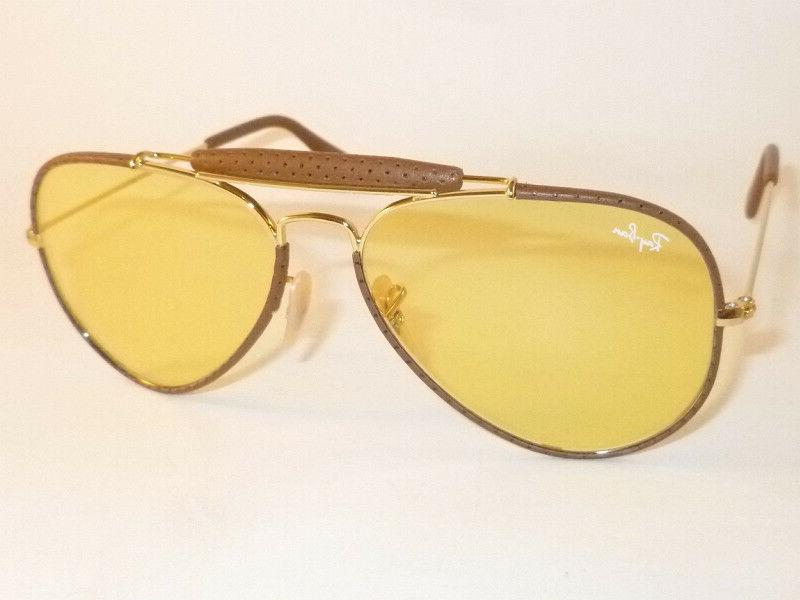 RAY BAN Aviator Outdoorsman Brown Leather  RB 3422Q 9042/4A