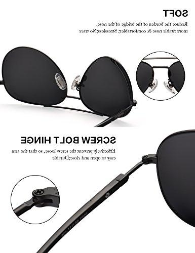 Aviator Sunglasses Mens Polarized Black Metal Dark 60mm with UV400