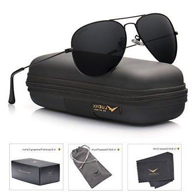 aviator sunglasses polarized mens womens black lens