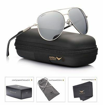 LUENX Aviator Womens Silver Lens Frame 400 Protection with
