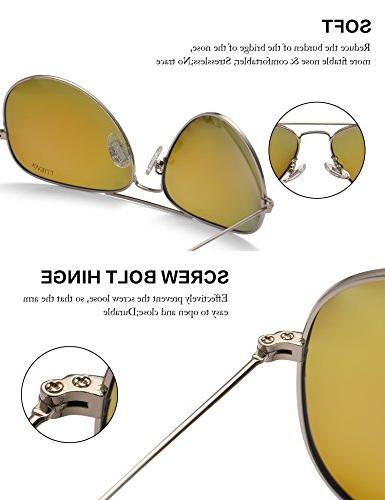 LUENX Men Women Aviator Sunglasses Polarized Blue Lens Silver with Accessories Classic Style
