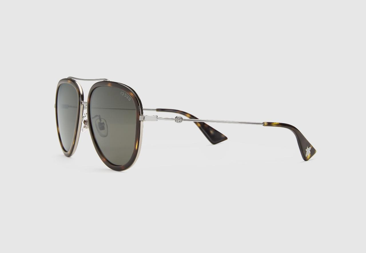 Gucci Black Aviator Metal Sunglasses Gold Metal With Black R