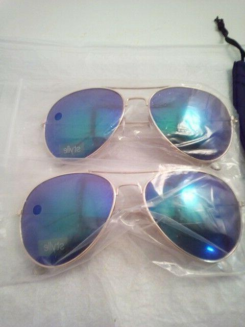 Blue with Gold Aviator Bag, 100%