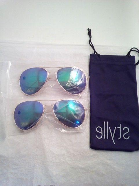 blue with gold aviator sunglasses with protective