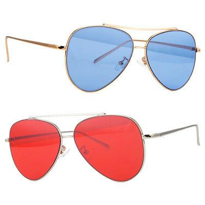 CLASSIC AVIATOR SUNGLASSES RED BLUE TINTED LENS SILVER ALL M