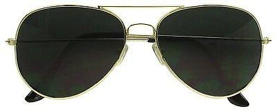 Dark Aviator Sunglasses - Gold Lens