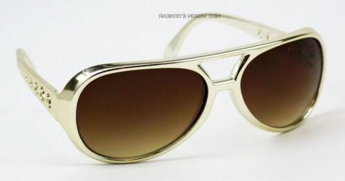Elvis Vintage Style Gold or Silver Chrome Aviator Sunglasses
