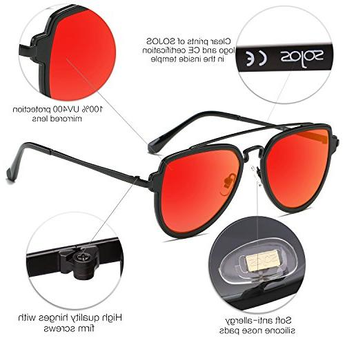 SOJOS Fashion Aviator Sunglasses Mirrored Double Bridge with Matte Black Frame/Red Lens