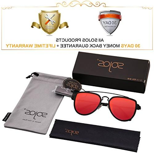 SOJOS Fashion Unisex Sunglasses Double Matte Frame/Red Mirrored Lens