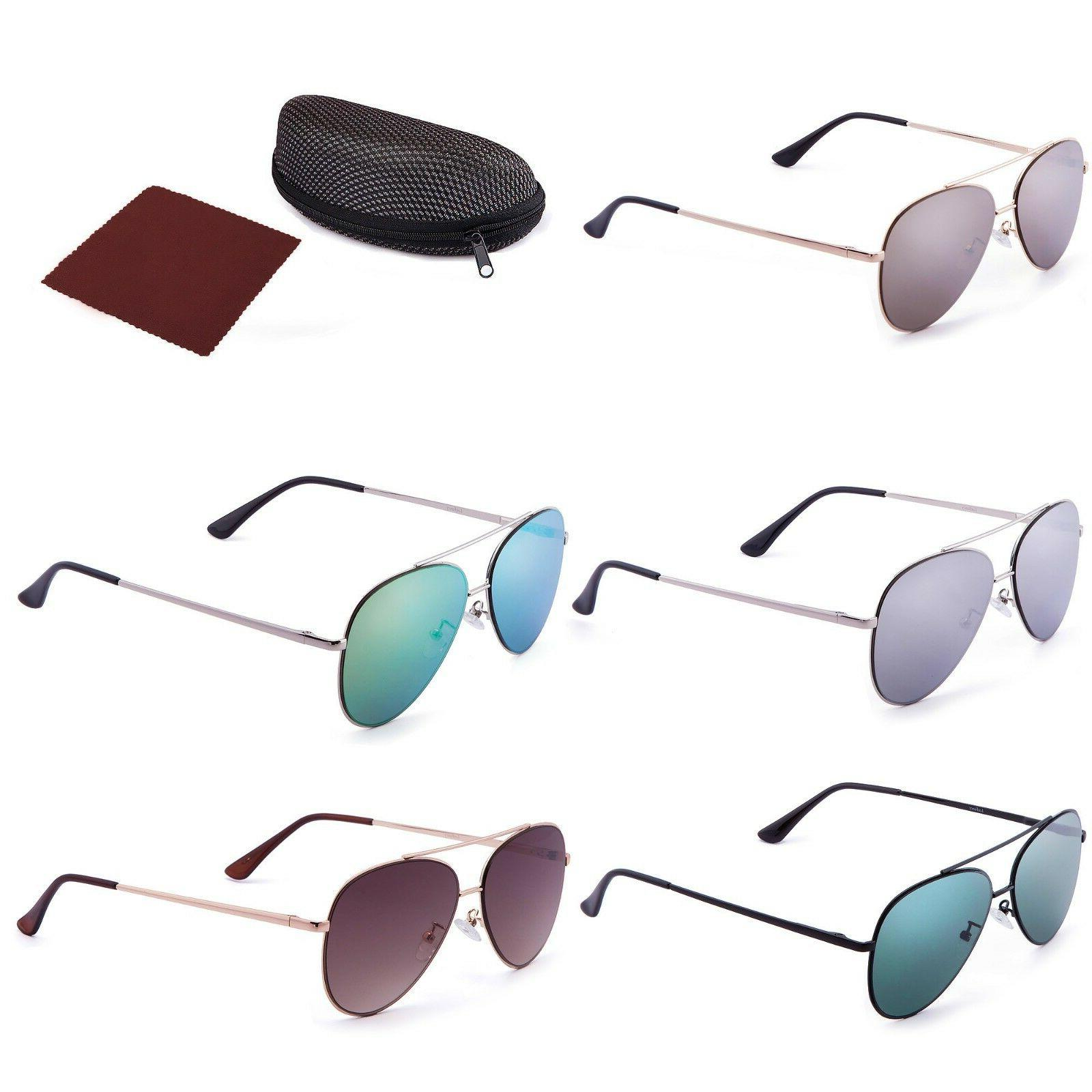 Fashion Flat Aviator For Women Men Lens Driving Case
