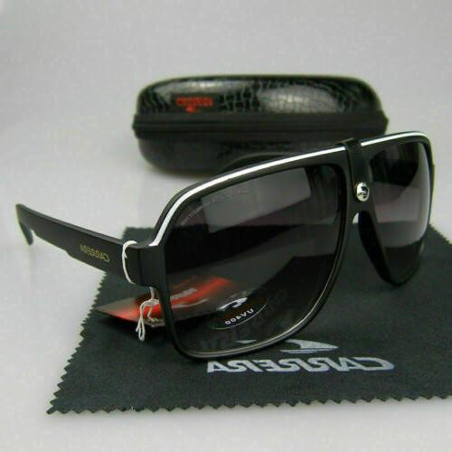 Men Carrera Glasses Retro Sunglasses Matte Frame Metal Black