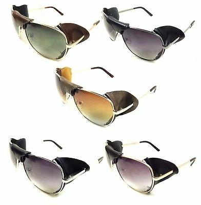 FAUX LEATHER BRIDGE & EYE SHIELD AVIATOR SUNGLASSES CLASSIC