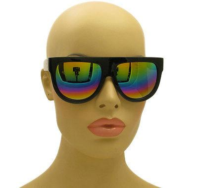 flat top oversized aviator rainbow mirror lens