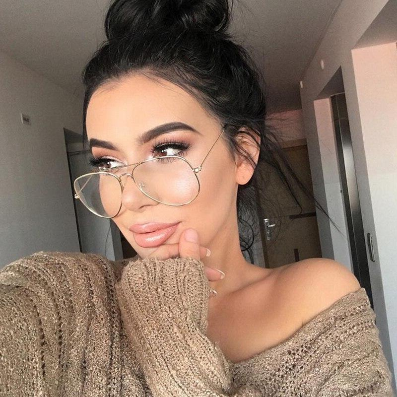 Round Vintage Glasses Transparent Women Pilot Glasses Optics