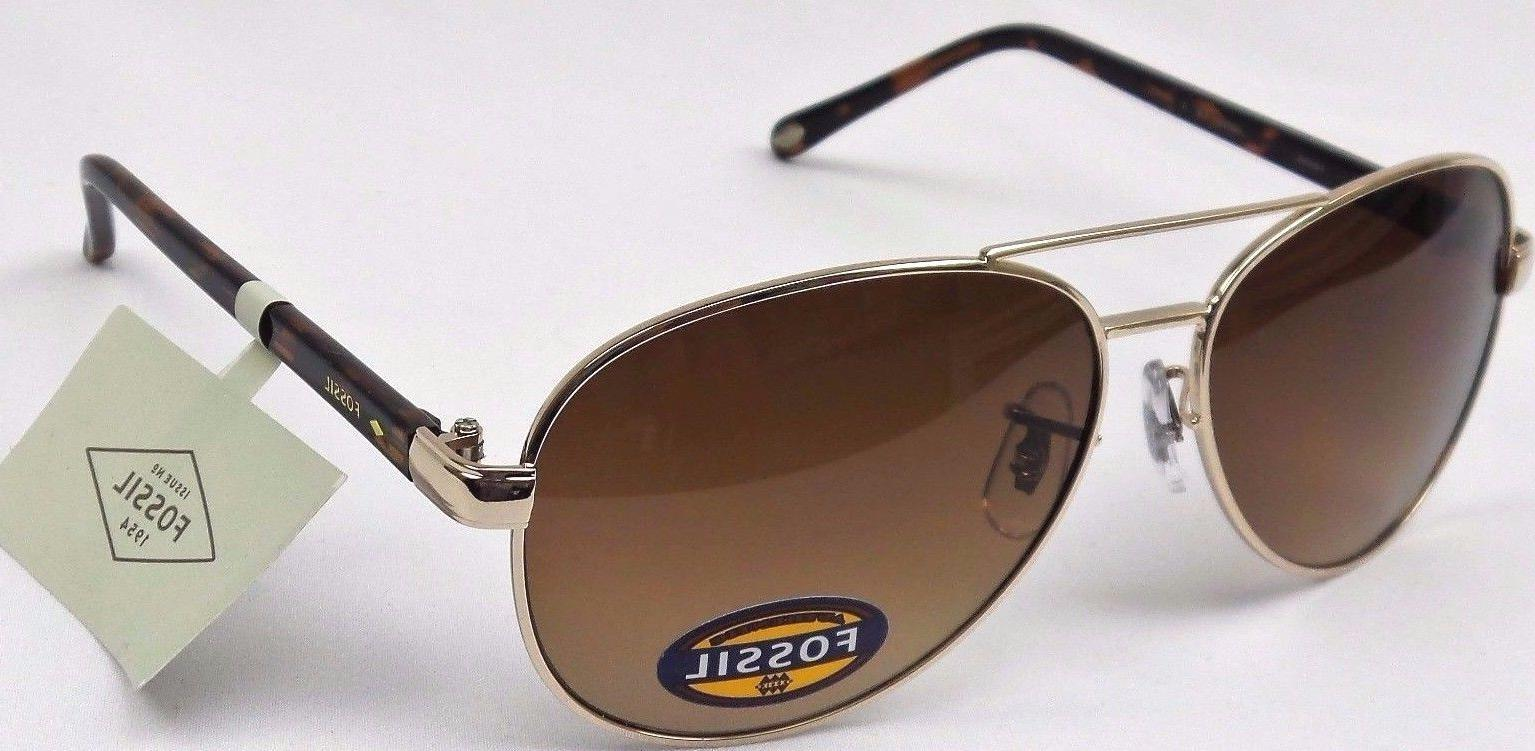 FOSSIL Ladies Gold Frame Brown Lens Sunglasses NEW