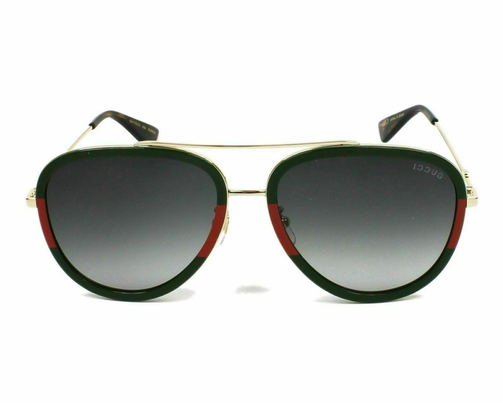Women's Gucci 57Mm Aviator Sunglasses - Green-Red/ Green