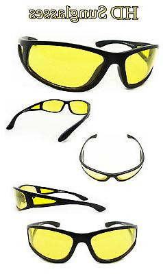 HD Aviator Sunglasses Night Vision Driving Glasses Yellow Le