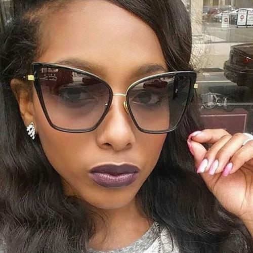 Large CAT EYE Womens Sunglasses Retro VINTAGE Square Aviator