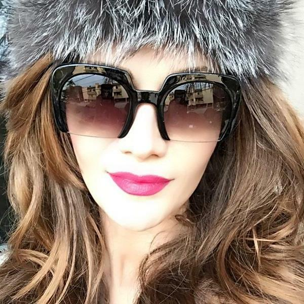 Large Square RAZOR Half Cut Lens Fashion Aviator Women WaYFe