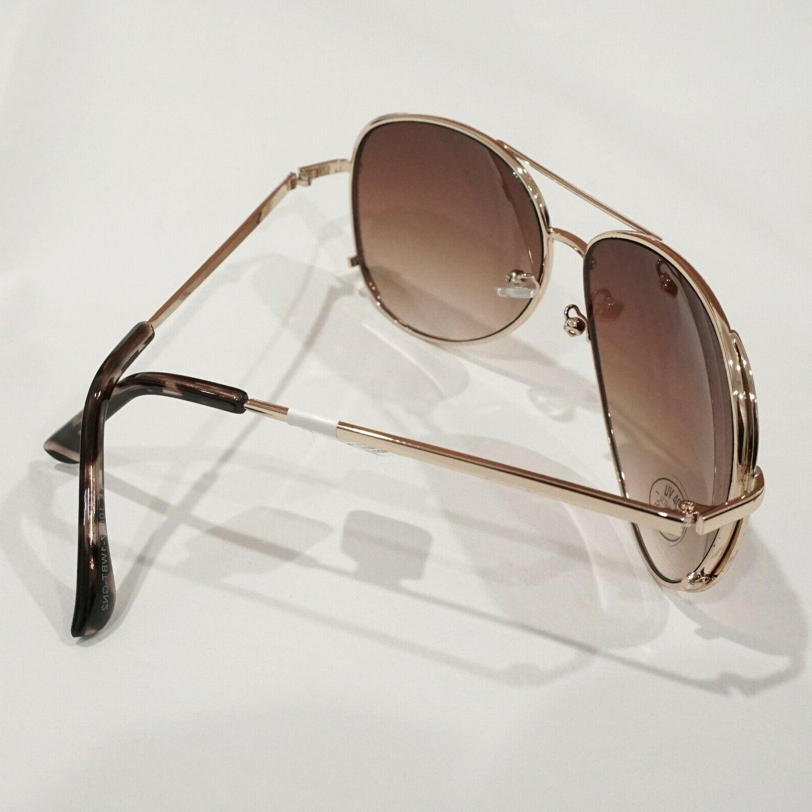 LOFT Gold Tone Metal Aviator Sunglasses