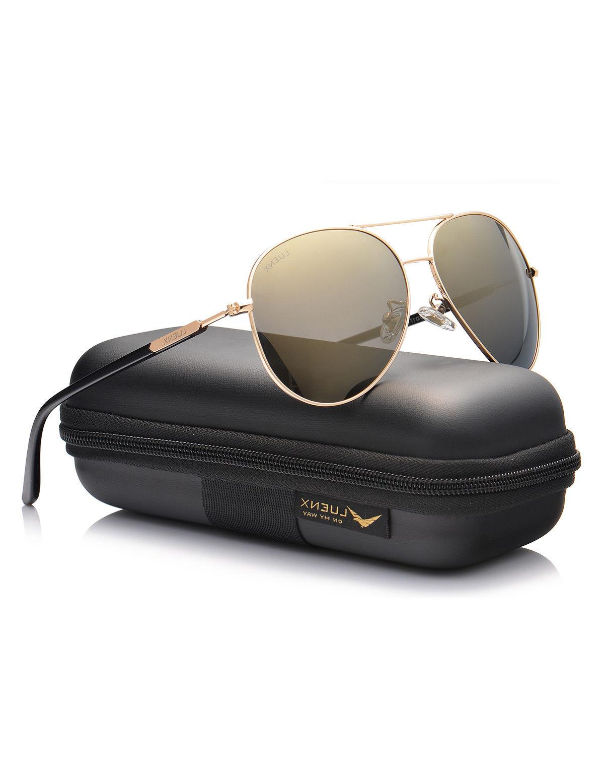 Luenx Aviator Sunglasses - Polarized Gold Mirror Lens