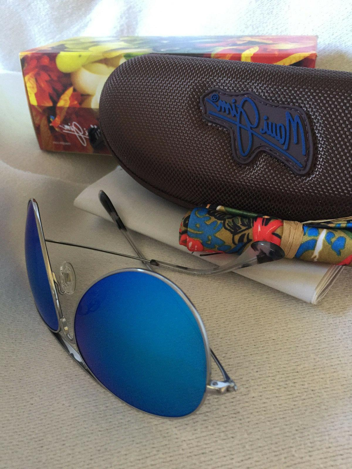 MAUI JIM MAVERICKS B264-17 AVIATOR BLUE MIRROR SUNGLASSES PO