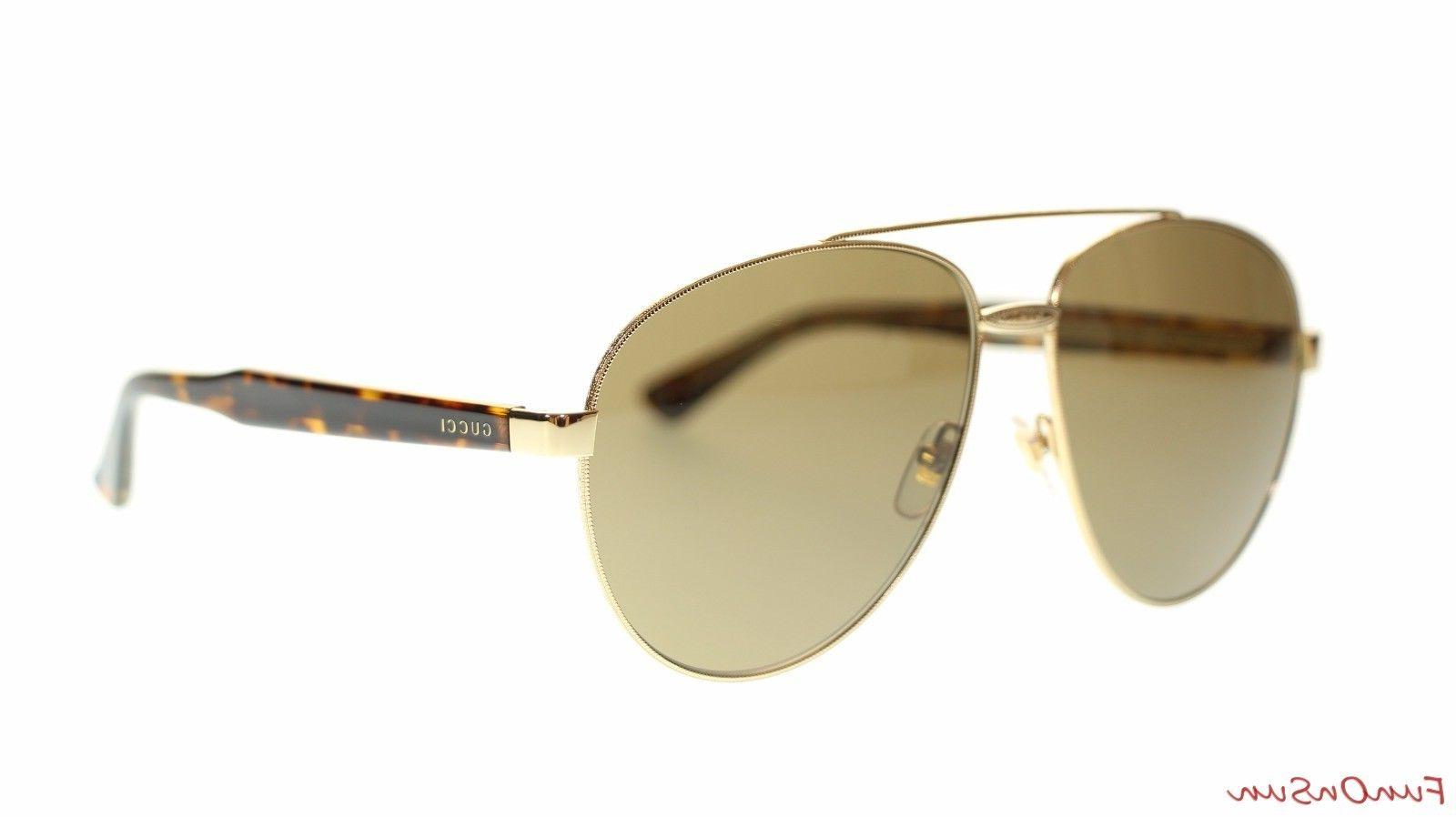Gucci Men's Aviator Sunglasses GG0054S 002 Gold Havana/Brown