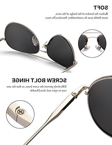 LUENX Sunglasses Polarized Silver Lens Metal UV 400 Driving with Accessories
